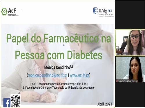 """Conferência online """"Papel do Farmacêutico na Pessoa com Diabetes""""."""